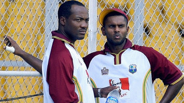 Brian Lara and Shivnarine Chanderpaul during a nets session
