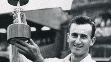 Ted Dexter poses with the Gillette Cup after Sussex's win in the 1963 final