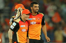 Bipul Sharma and David Warner celebrate a wicket, Sunrisers Hyderabad v Kings XI Punjab, IPL 2015, Hyderabad, May 11, 2015