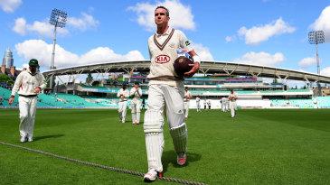 Kevin Pietersen walks off after making an unbeaten 355