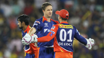 Albie Morkel celebrates after dismissing Dwayne Smith