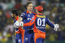 Albie Morkel celebrates after dismissing Dwayne Smith , Delhi Daredevils v Chennai Super Kings, IPL 2015, Raipur, May 12, 2015