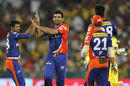 Zaheer Khan ended with figures of 4-1-9-2 and bowled 19 dot balls, Delhi Daredevils v Chennai Super Kings, IPL 2015, Raipur, May 12, 2015