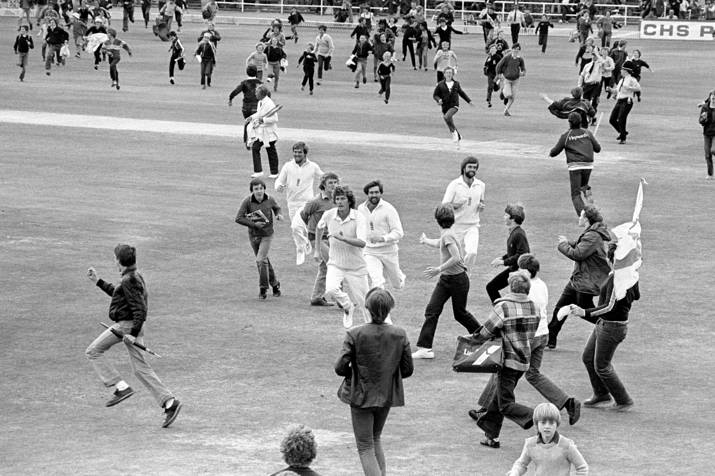 Willis and chums flee the scene after the win at Headingley, 1981