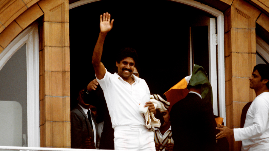Kapil Dev on the Lord's balcony after the World Cup win