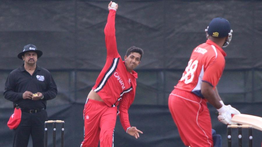 Nikhil Dutta bowls to Janeiro Tucker