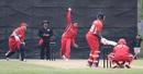 Nikhil Dutta bowls to Janeiro Tucker, Bermuda v Canada, ICC Americas Regional T20, Indianapolis, May 4, 2015