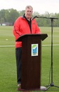 Indianapolis Mayor Greg Ballard welcomes the teams to World Sports Park, Canada v United States of America, ICC Americas Regional T20, Indianapolis, May 9, 2015