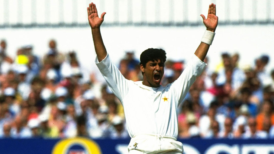 Waqar Younis appeals for a wicket
