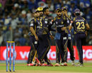 Shakib Al Hasan celebrates a wicket with his team-mates , Mumbai Indians v Kolkata Knight Riders, IPL 2015, Mumbai, May 14, 2015