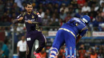 Sunil Narine breaches Rohit Sharma's defence