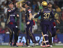 Johan Botha is congratulated for taking a catch, Kolkata Knight Riders v Delhi Daredevils, IPL 2015, Kolkata, May 7, 2015
