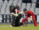 Kevin O'Brien sweeps during his 47, Lancashire v Leicestershire, NatWest Blast, North Group, Old Trafford, May 15, 2015