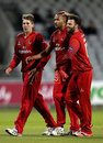 George Edwards (centre) took four wickets on his first appearance for Lancashire, Lancashire v Leicestershire, NatWest Blast, North Group, Old Trafford, May 15, 2015