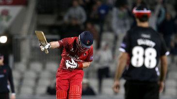 Steven Croft celebrates after hitting a final-ball boundary to win the match
