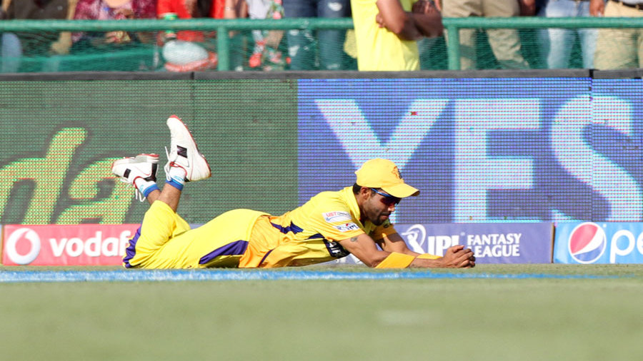 Ravindra Jadeja holds on to one of the catches of the season