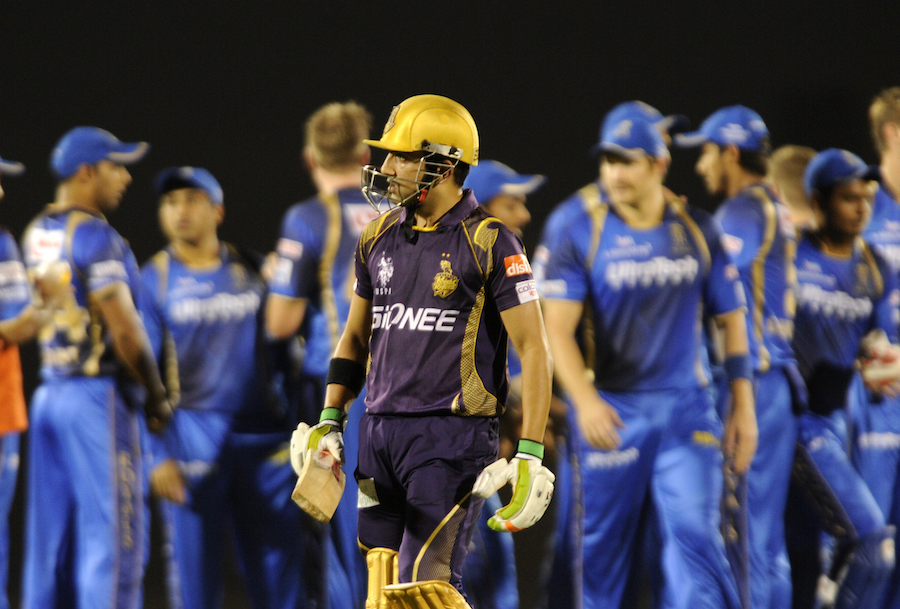 Knight Riders lost Gautam Gambhir early in the 200-run chase, and Robin Uthappa was also dismissed quickly