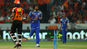 Lasith Malinga bowled Shikhar Dhawan for 1 in the first over