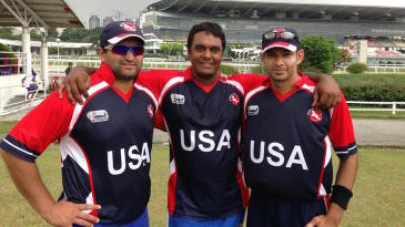 Sushil Nadkarni, Aditya Thyagarajan and Usman Shuja (left to right) on the field together after their final match