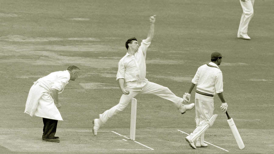 Fred Trueman in his delivery stride