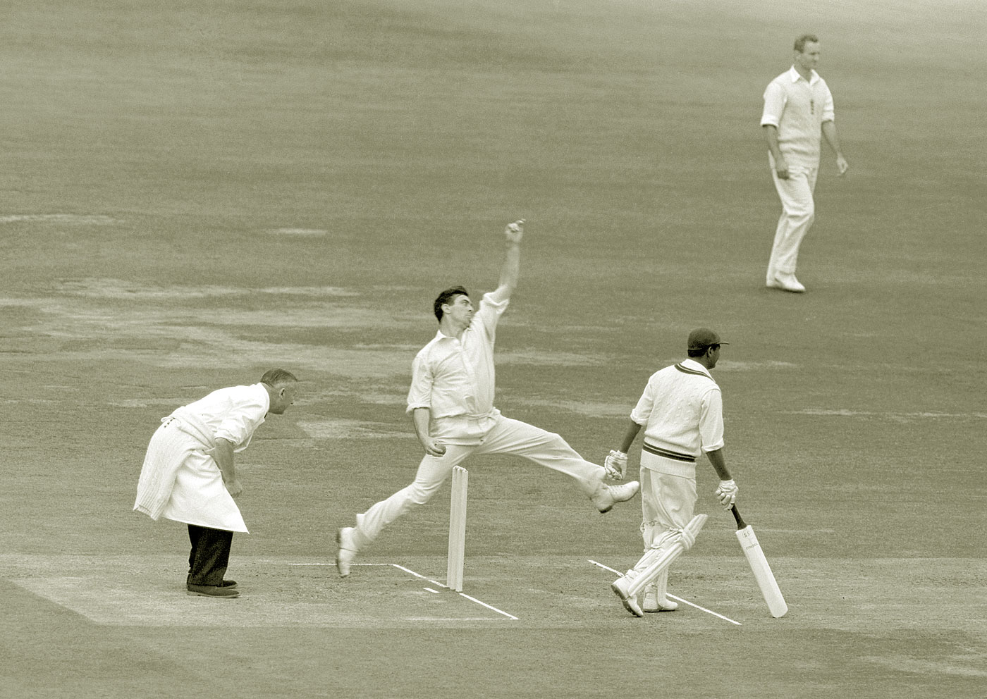 Hold the pose: Trueman at Lord's against West Indies in 1963, a match in which he took 11 wickets