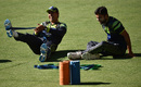 Nasir Jamshed and Ahmed Shehzad have a laugh while training
