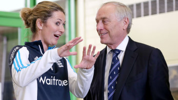 Charlotte Edwards and Colin Graves chat at a Chance to Shine event