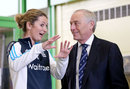 Charlotte Edwards and Colin Graves chat at a Chance to Shine event, Chelmsford, May 19, 2015