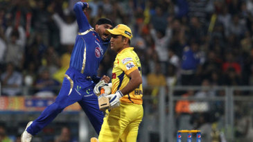 Harbhajan Singh is charged up after dismissing MS Dhoni first ball