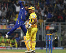 Harbhajan Singh is charged up after dismissing MS Dhoni first ball, Mumbai Indians v Chennai Super Kings, IPL 2015, Qualifier 1, Mumbai, May 19, 2015