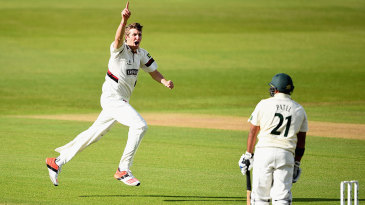 Craig Overton celebrates the wicket of Samit Patel
