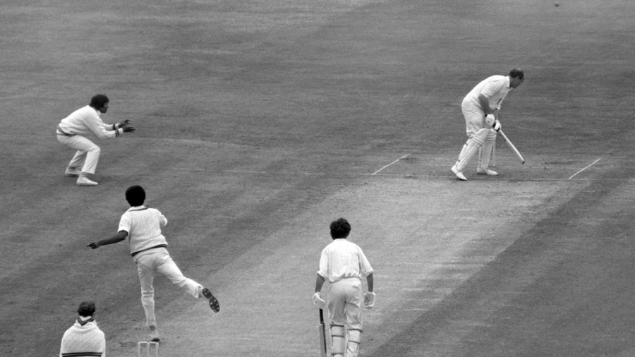 Brian Close takes evasive action against a Michael Holding bouncer