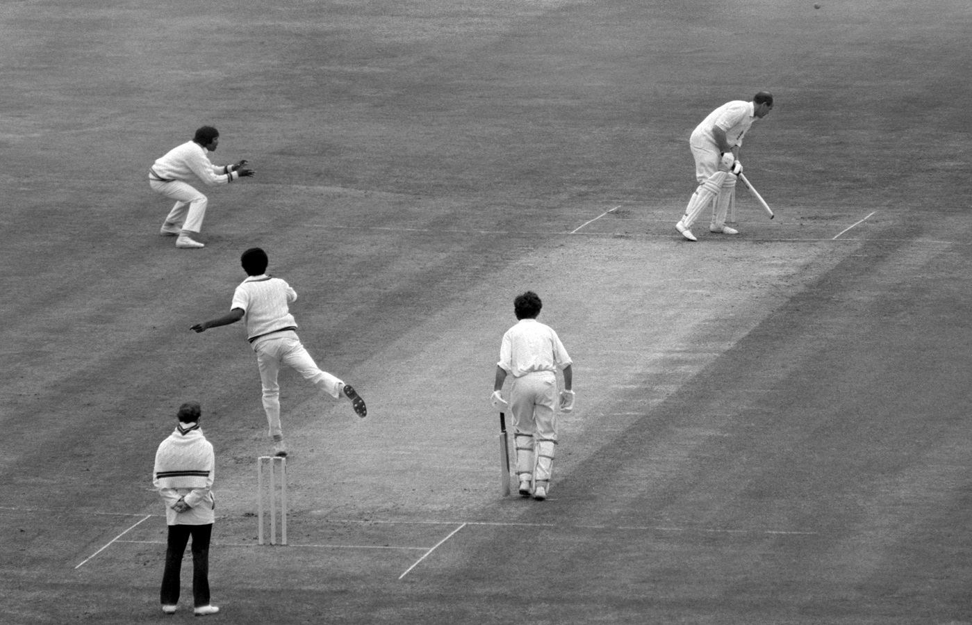 Brian Close takes evasive action against Michael Holding at Old Trafford