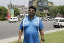 Umpire Ahsan Raza on his way to the stadium, Lahore, May 20, 2015