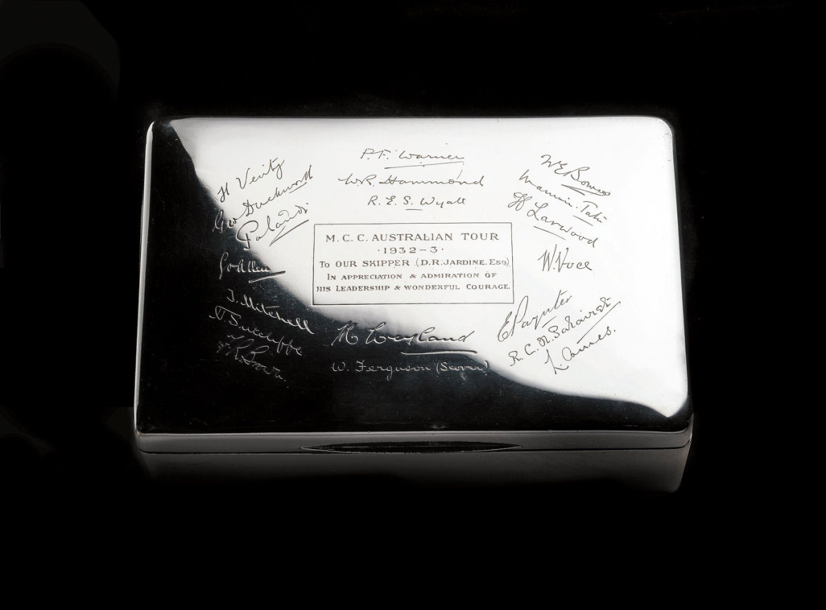 Silver cigarette box inscribed to Douglas Jardine by members of 1932-33 England team to Australia