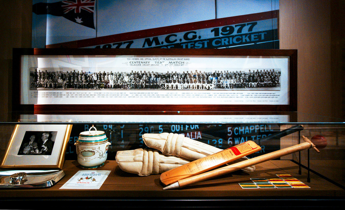 Memorabilia from the 1977 Centenary Test at the MCG museum