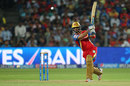 Mandeep Singh unleashes a drive, Rajasthan Royals v Royal Challengers Bangalore, IPL 2015, Eliminator, Pune, May 20, 2015