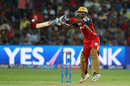 Mandeep Singh goes on his toes for an upper cut, Rajasthan Royals v Royal Challengers Bangalore, IPL 2015, Eliminator, Pune, May 20, 2015