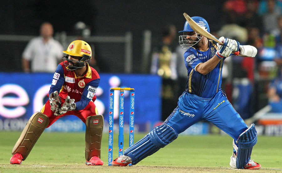 Ajinkya Rahane led the Royals resistance with 42 but his wicket turned the game in Royal Challengers' favour