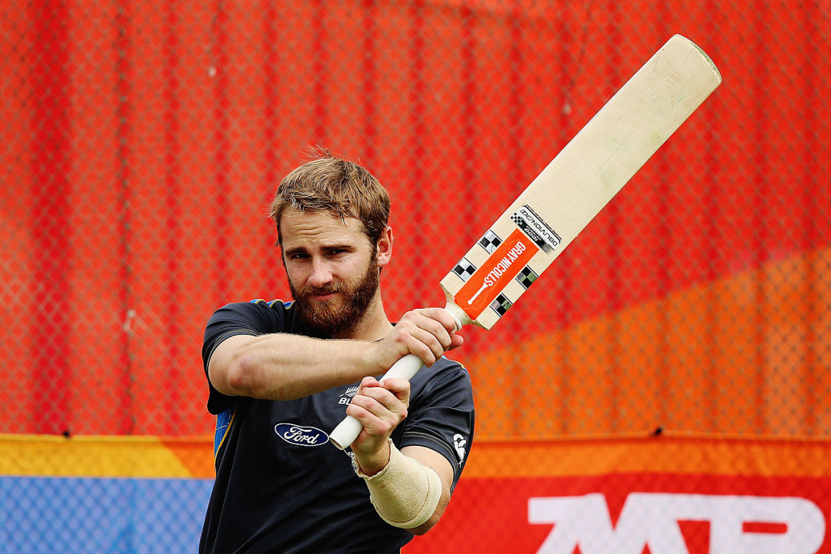 Kane Williamson swings his bat during practice