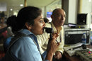 Lisa Sthalekar with Danny Morrison in the commentary box, IPL 2015, Visakhapatnam, April 18, 2015