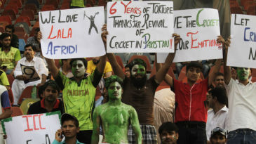 Pakistan fans ahead of the game at the Gaddafi Stadium