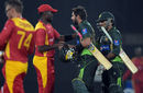 Shahid Afridi shakes hands with an opposition player after the win, Pakistan v Zimbabwe, 1st T20, Lahore, May 22, 2015