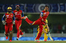 Yuzvendra Chahal exults after dismissing Faf du Plessis, Chennai Super Kings v Royal Challengers Bangalore, IPL 2015, Qualifier 2, Ranchi, May 22, 2015