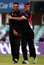 Jigar Naik is congratulated by Clint McKay, Leicestershire v Derbyshire, NatWest T20 Blast, North Group, Grace Road, May 22, 2015