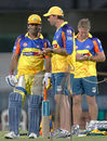 MS Dhoni and Stephen Fleming chat at a training session