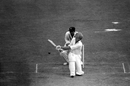 David Gower sweeps,a s Bharath Reddy looks on, third day, England v India, second Test, Lord's, August 4, 1979