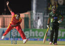 Brian Vitori in his follow through, Pakistan v Zimbabwe, 1st ODI, Lahore, May 26, 2015