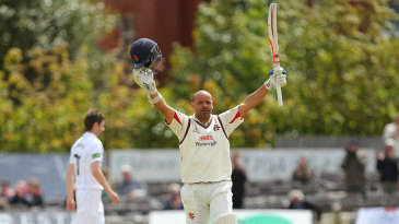 Ashwell Prince celebrates his double hundred