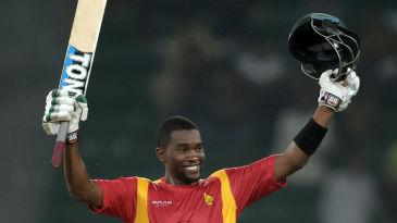 Elton Chigumbura celebrates his maiden ODI ton